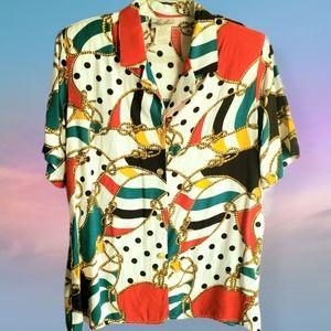 Vintage Colorful Colorblock Top